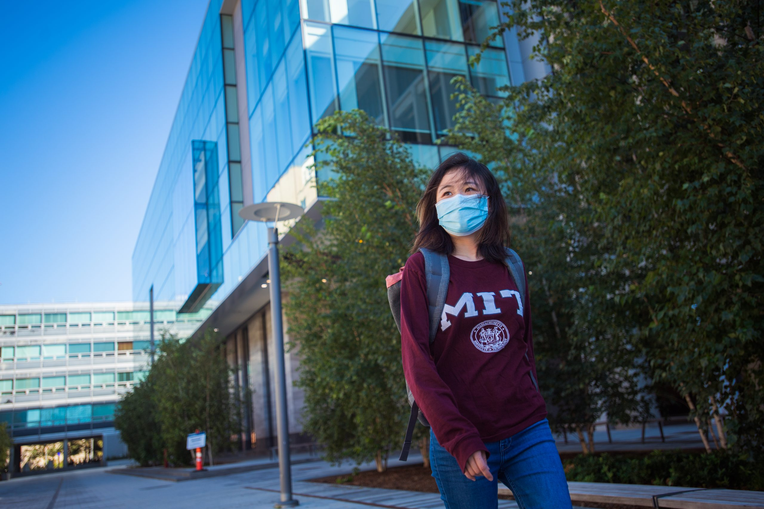 MIT student in disposable COVID mask